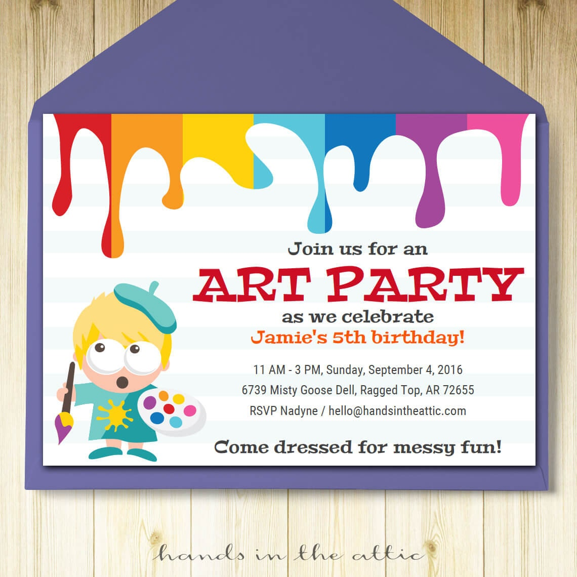 Art party invitation card template printable kids painting | Etsy