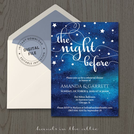 Rehearsal Dinner Invitation Template Wedding The