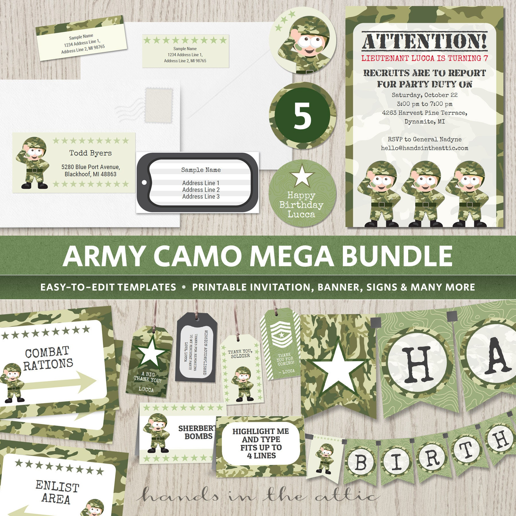 graphic regarding Digital Camo Stencil Printable titled Military camo birthday occasion, topic celebration invites elements camouflage decorations, soldier armed forces, banner boys Electronic printable templates