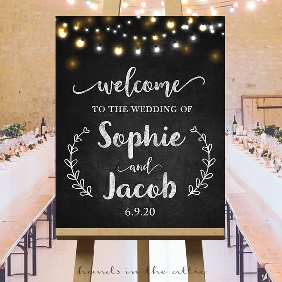 Chalkboard Wedding Signs.Rustic Chalkboard Wedding Signs Large Wedding Ceremony Welcome Sign Reception Printables String Lights Chalkboard Customized Digital