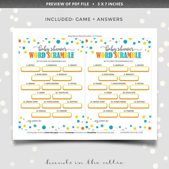 photo regarding Printable Jumble Puzzles known as Term scramble little one shower video game, PRINTABLE phrase jumble puzzle unscramble letter combine up, worksheets with options, Electronic down load