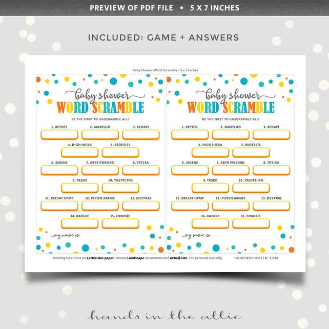 picture about Printable Jumble referred to as Term scramble kid shower sport, PRINTABLE term jumble puzzle