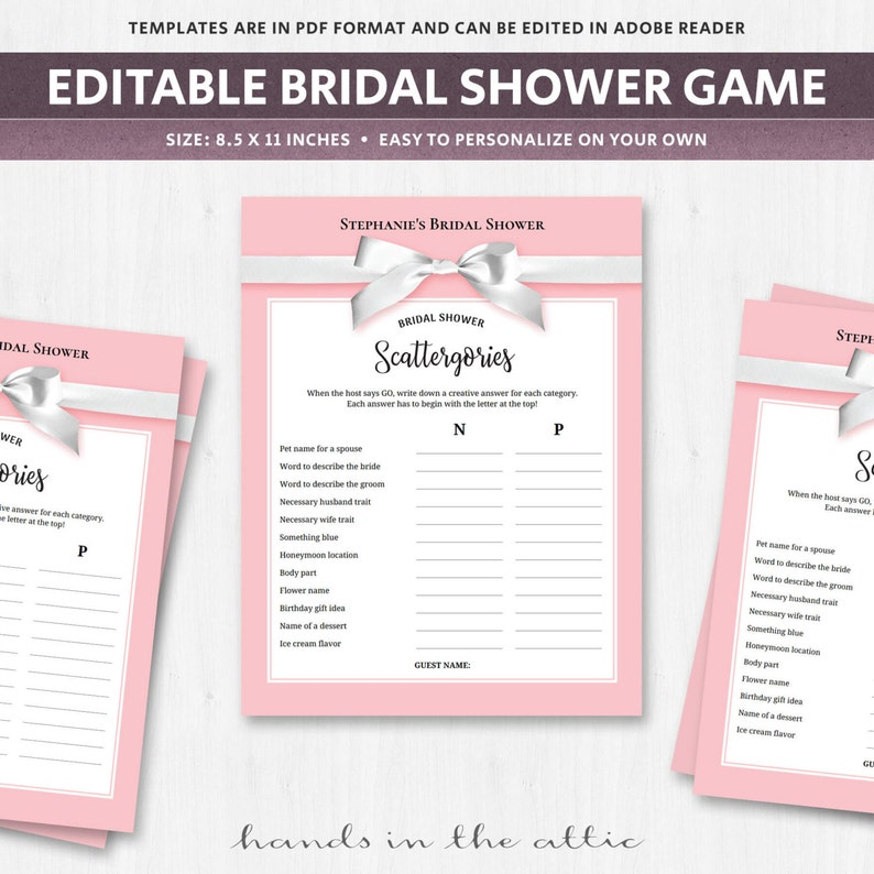 photograph regarding Printable Scattergories Lists identify Bridal shower scattergories classes activity, crank out your personal, PDF, issues printable lists, tips, wedding ceremony game titles sheets, red blush, Electronic