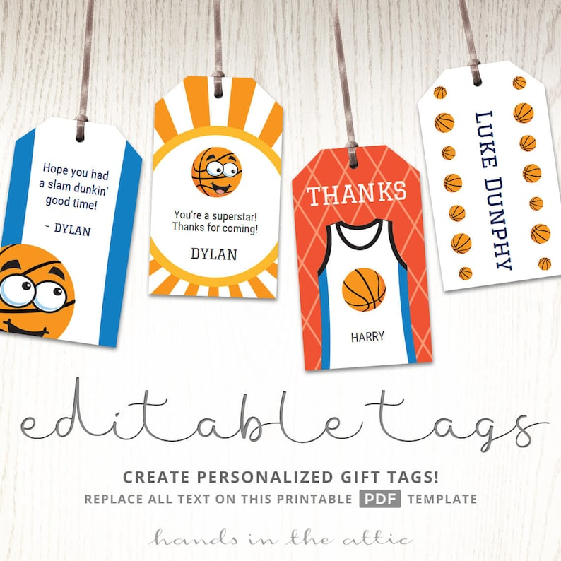 photo about Birthday Tag Printable identify Athletics birthday get together, editable present tags, labels, printable stickers, cling tags, basketball tag template, children bash printable Electronic pdf