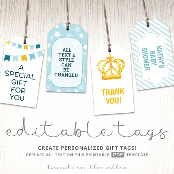 graphic about Free Printable Baby Shower Labels known as Printable little one shower present tags, editable get together desire labels, thank oneself hold tags, baptism like tags, present tags template, Electronic
