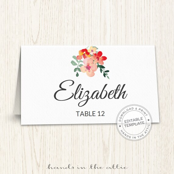 Unique Wedding Printables Wedding Templates Diy Wedding Placecards Escort Cards Template Print Yourself Download Floral Wedding Labels By Hands In The Attic Catch My Party