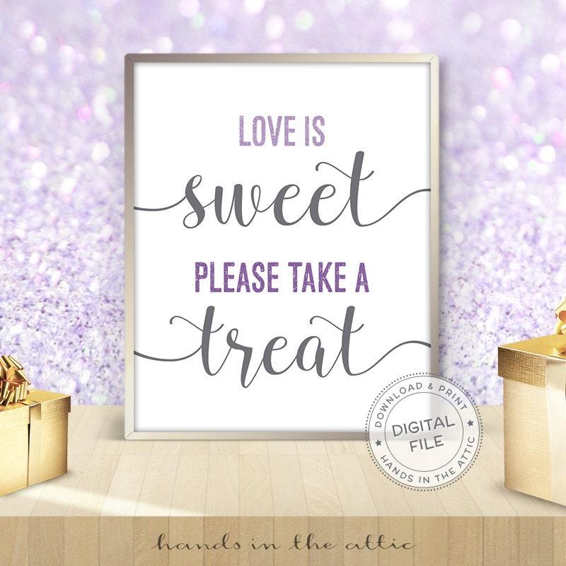 Wedding Dessert Table Sign: Lavender Wedding Dessert Sign Love Is Sweet Please Take A