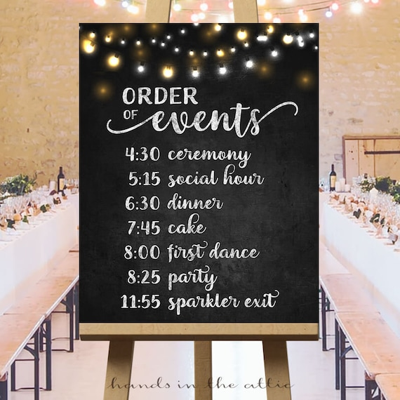 Order Of Events Timeline Sign Printable Wedding Day Schedule Of The