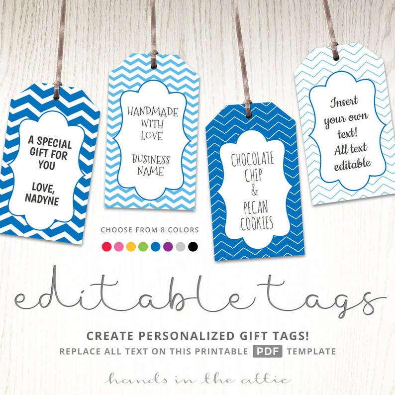 Tag Template | Editable Gift Tags Gift Tag Template Text Editable Chevron Etsy