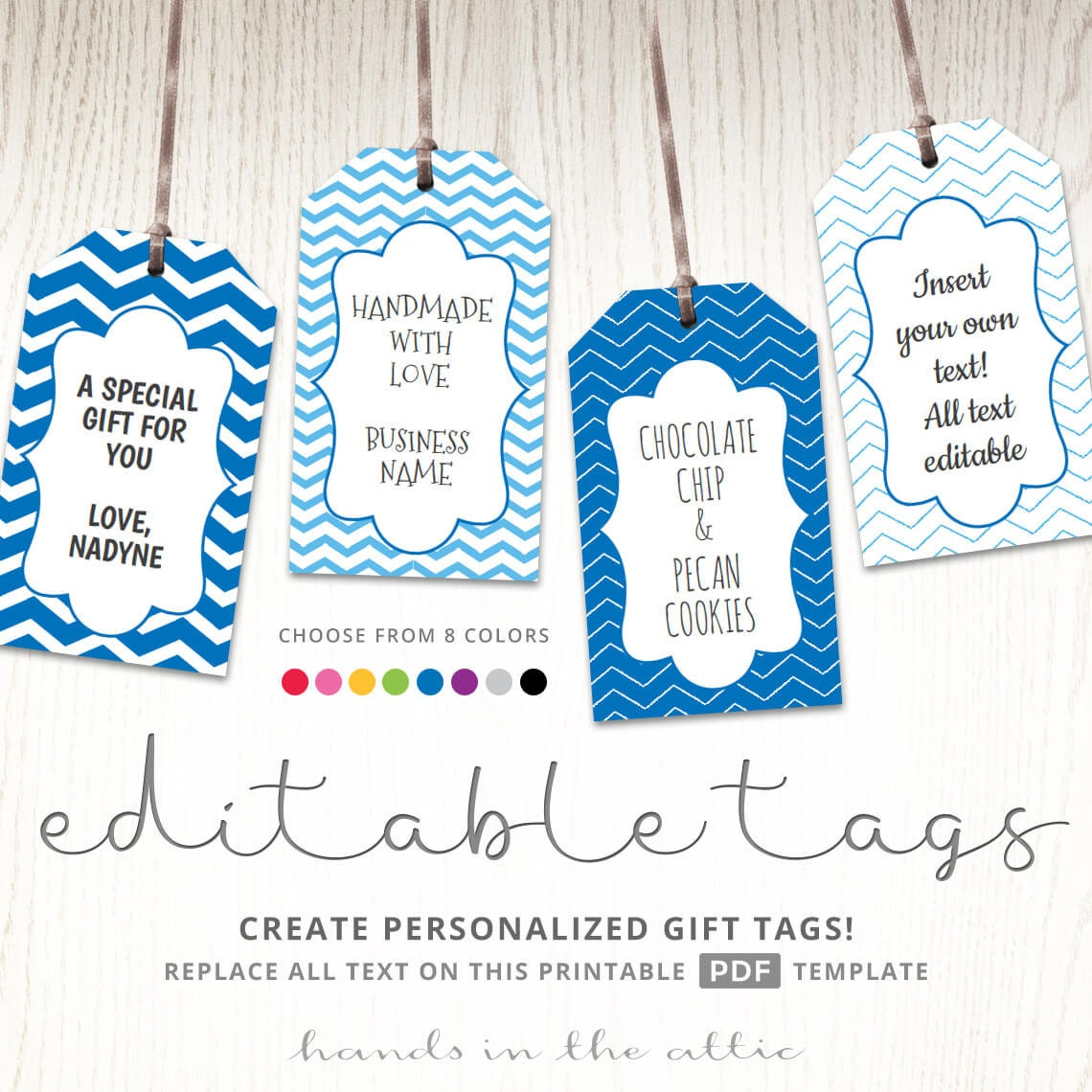Editable gift tags gift tag template text editable chevron | Etsy