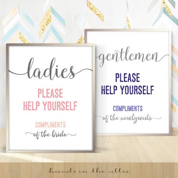 Hospitality Basket Bathroom Wedding Sign Ladies Gents Room