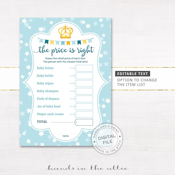 photograph relating to Price is Right Baby Shower Game Free Printable called The cost is straight youngster shower activity, EDITABLE report