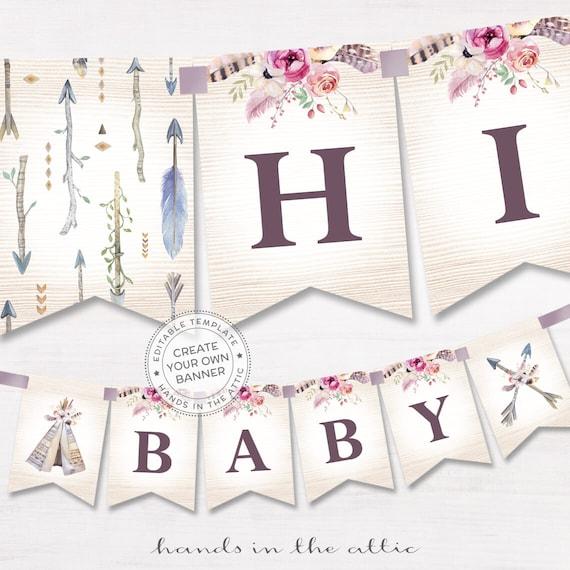 Boho Alphabet Banner Printable Baby Shower Decor Bohemian