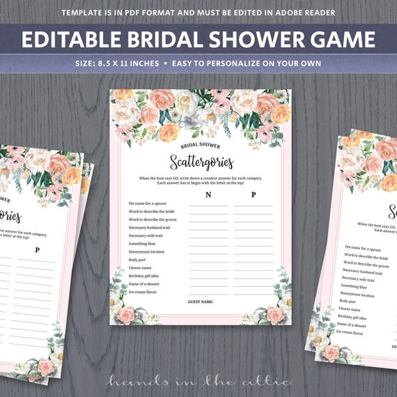 Scattergories Game Template Unique Bridal Shower Games For Large Groups Ice Breaker Categories Activities Wedding Printable Digital Pdf