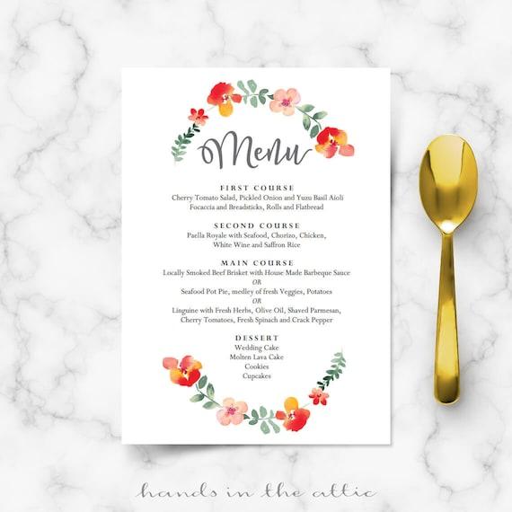 Wedding Menu Cards, Template, Food, Reception, Brunch