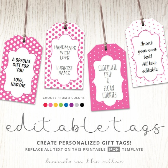 Editable Gift Tags Gift Tag Template Text Editable Polka Etsy