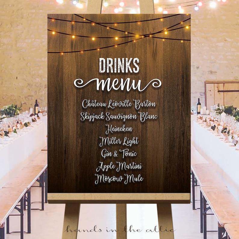 Drinks menu, cocktail, bar, large wedding sign, glowing string lights,  rustic wedding, wooden, printable, wine list, customized PDF, DIGITAL