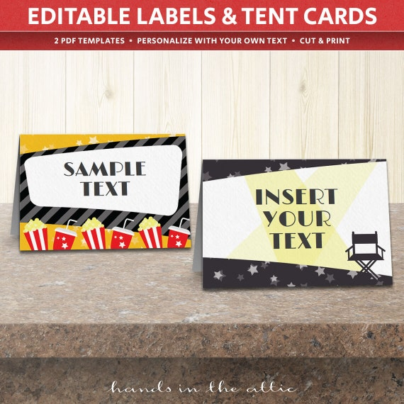 movie party labels food tent cards editable template etsy