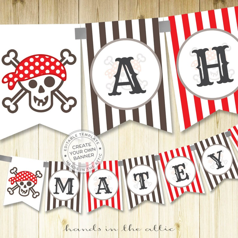 graphic regarding Printable Alphabet Banner named Pirate printable alphabet banner, editable template, pirate celebration banner, social gathering bunting, skull and bones Do it yourself decoration, Electronic template