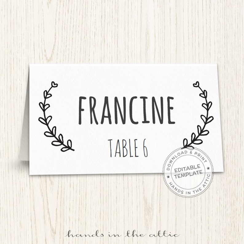 graphic about Printable Escort Cards named Wedding day issue playing cards, editable seating playing cards, printable seating playing cards, laurel wreath escort playing cards TEMPLATE, Electronic down load, PDF structure