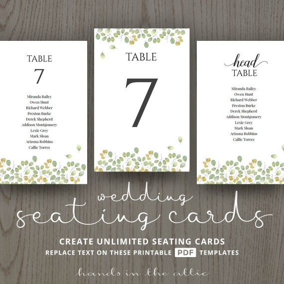 Nameguesty: Leaves Wedding Table Name Cards Guest List Printable
