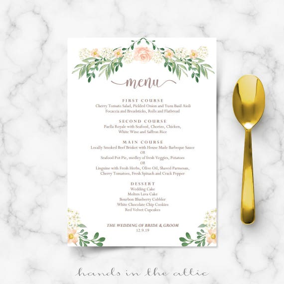rustic wedding menu rehearsal dinner menu template sit down etsy