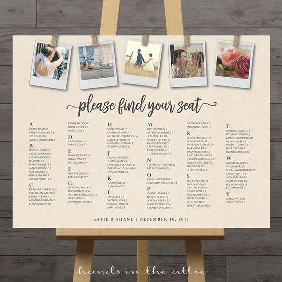 Instant Photos Wedding Seating Chart Large Seating Sign