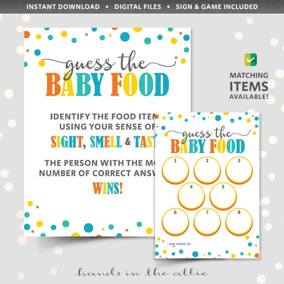 picture regarding Guess Who Game Printable named Little one food items recreation shower guessing activity, PRINTABLE template