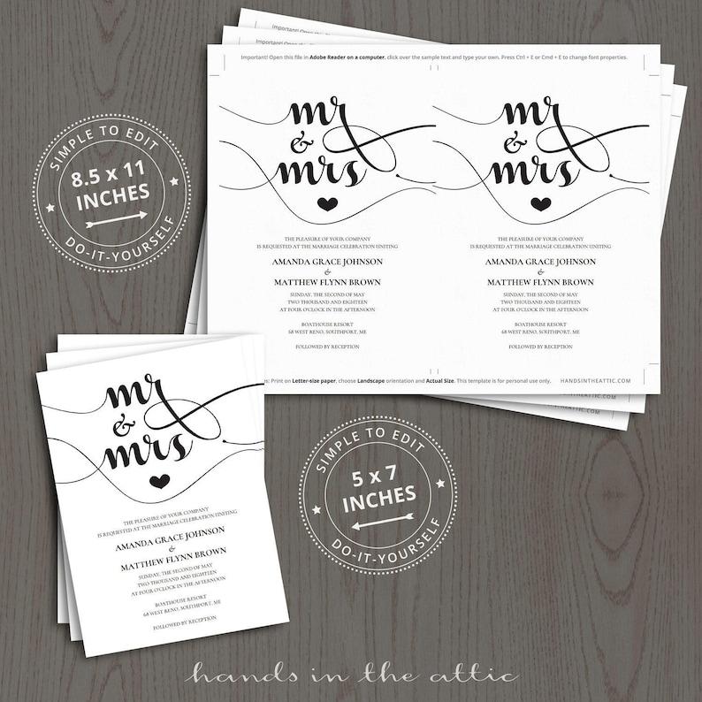 DIY wedding invitation kits mr and mrs printable do it | Etsy