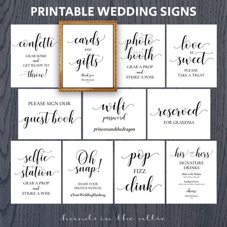 photograph regarding Wedding Signs Printable called Marriage indicators printable offer fastened package deal, pack of 8x10 signal for wedding ceremony reception celebration do-it-yourself, reserved, confetti, wifi, oh snap, Electronic