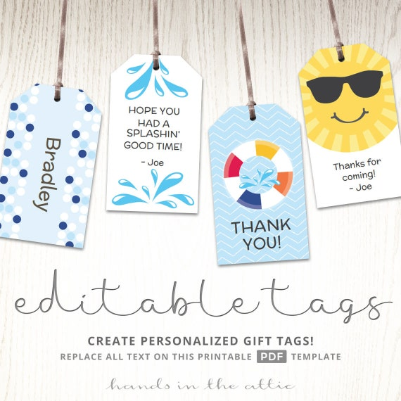Editable gift tags gift tag template favor tags pool party etsy image 0 maxwellsz