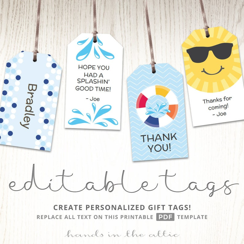 Editable gift tags gift tag template favor tags pool party image 0