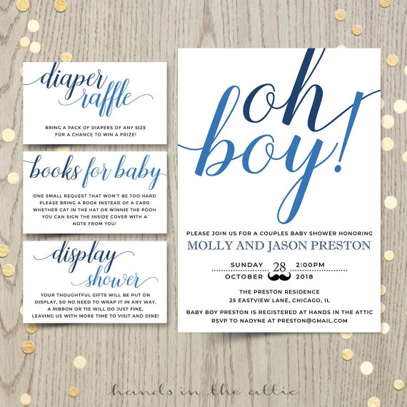 photo regarding Baby Shower Printable Invitations known as Oh boy youngster shower invitation card, partners shower invite, blue boy or girl boy shower printable invitation, custom made invitation, Electronic