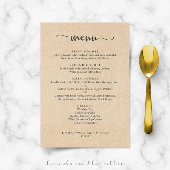 bridal brunch menu vintage country bbq diy wedding menu templates