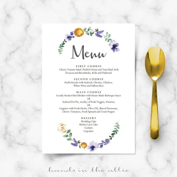 Wedding Dinner Menu Cards For Wedding Buffet Menu Ideas