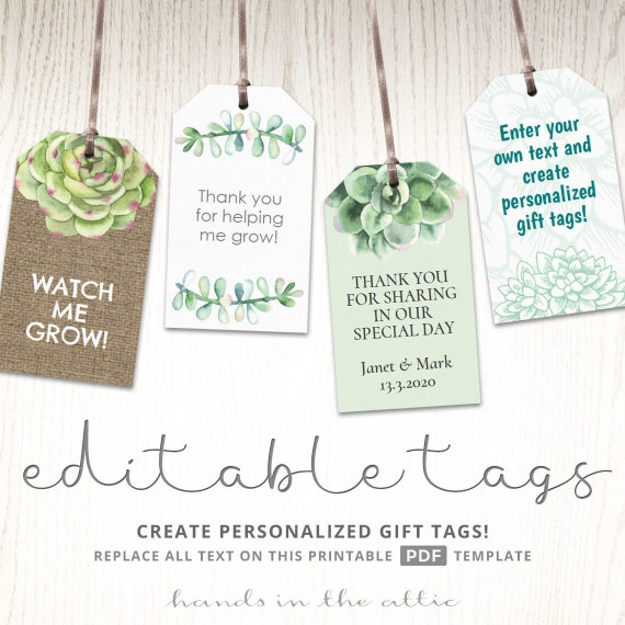 Succulent Plant Labels Gift Tags Potted Cactus Seeds Watch Me Grow Diy Wedding Favors Thank You Printable Bridal Shower Editable Template By Hands In The Attic Catch My Party