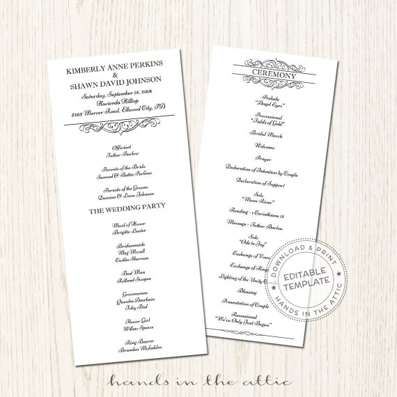 day of schedule printable wedding program template download etsy