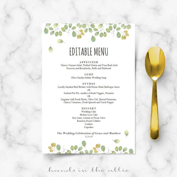 Printable Wedding Menu Template, Instant Wedding Menu