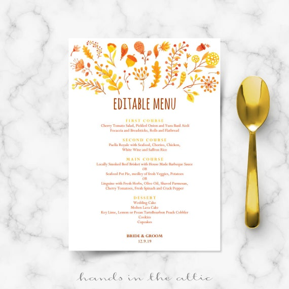 wedding brunch menu template printable cards fall autumn themed