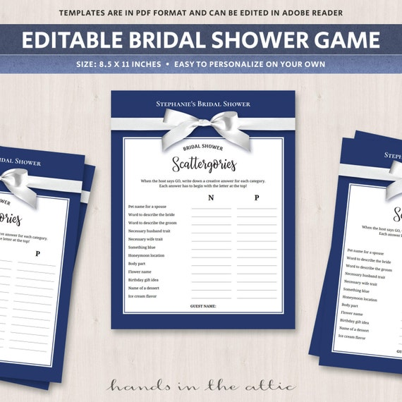 Scattergories Bridal Shower Game Printable Text Editable Etsy