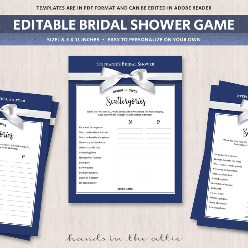 graphic relating to Printable Scattergories Lists titled Scattergories bridal shower match printable, words editable groups video games suggestions, exceptional online games, scattegories, tailored listing PDF, Electronic