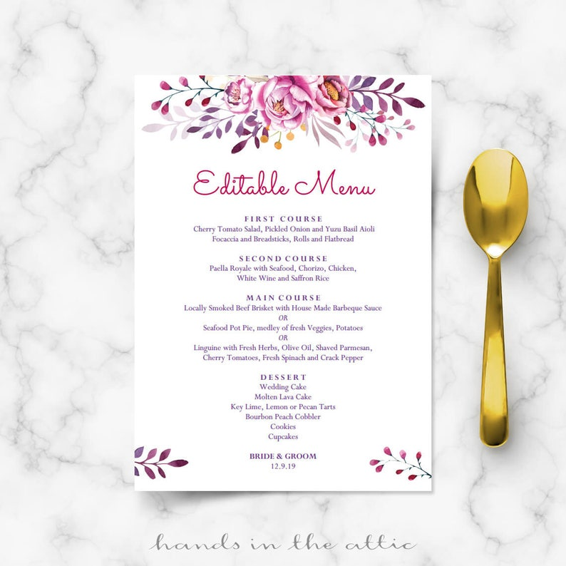 photo relating to Printable Menu Card identify Printable menu playing cards, do it on your own Do it yourself, card template, wedding ceremony luncheon buffet meal templates, purple pink bouquets editable PDF Electronic