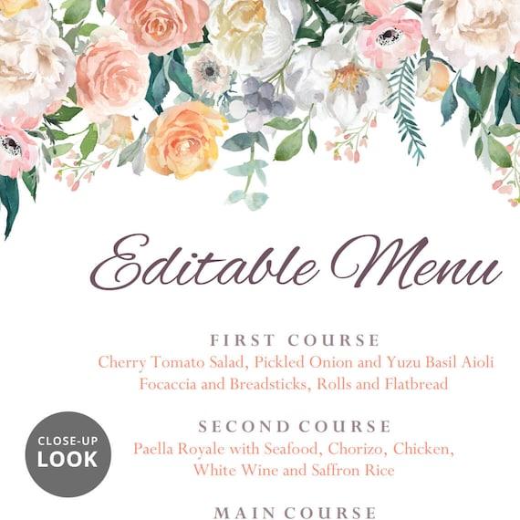 Wedding Dinner Menu Cards For Wedding Buffet Menu Ideas: Wedding Buffet Menu Cards Floral Diy Template Wedding