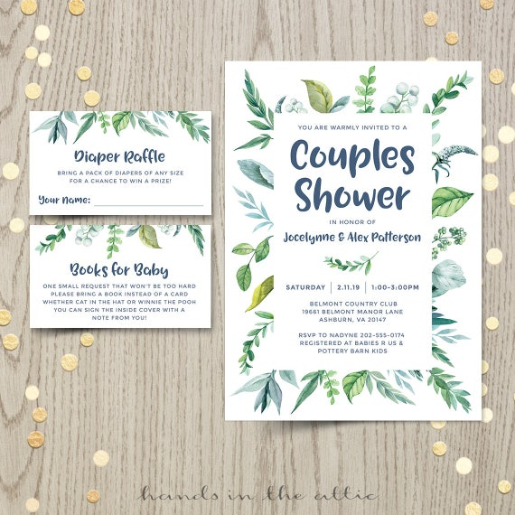 Couples Baby Shower Invitation, Gender Neutral Spring Green Nature Leaves, Botanical Garden