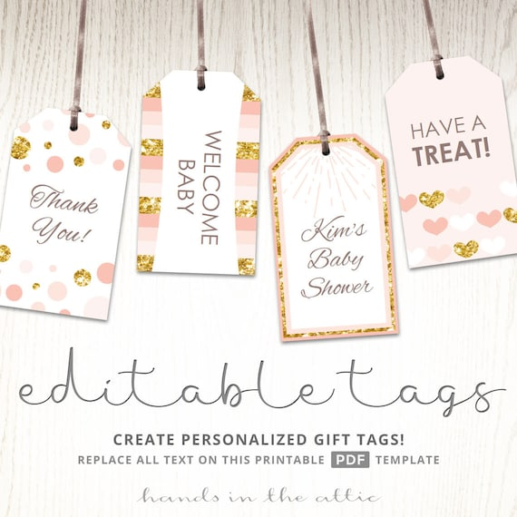Pink And Gold Gift Tags Editable Party Favor Tags Printable Etsy