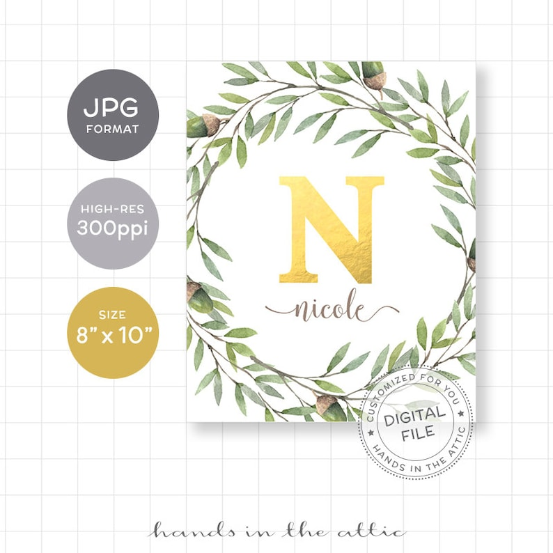 Personalized unique baby gifts name wall decoration printable gold foil MONOGRAM DIGITAL laurel wreath ideas for baby girl nursery