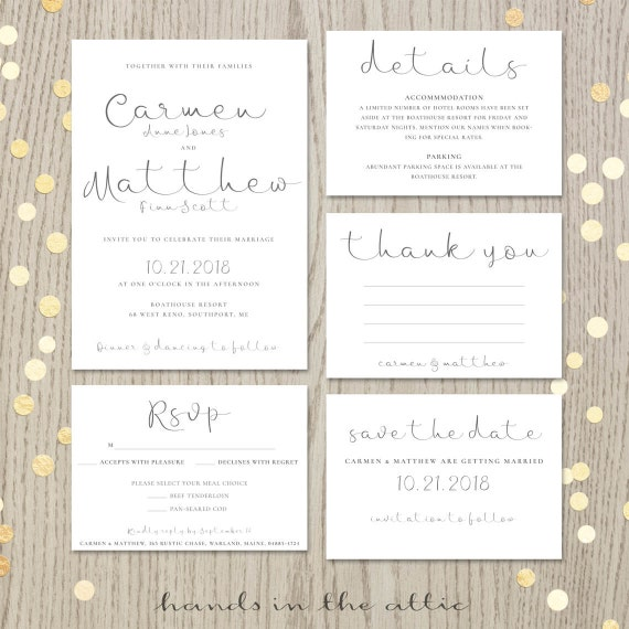Printable Wedding Invitation Suite Script Invitation Kit Modern Calligraphy Rsvp Thank You Save The Date Digital Files Jpg By Hands In The Attic Catch My Party