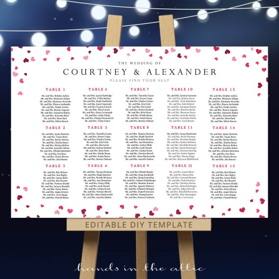 Tables 1-30- Pink Wedding 5x7inches -#GD1601 DIY Editable PDF Template Blush Pink Seating Chart Kit Printable Table Assignment Cards