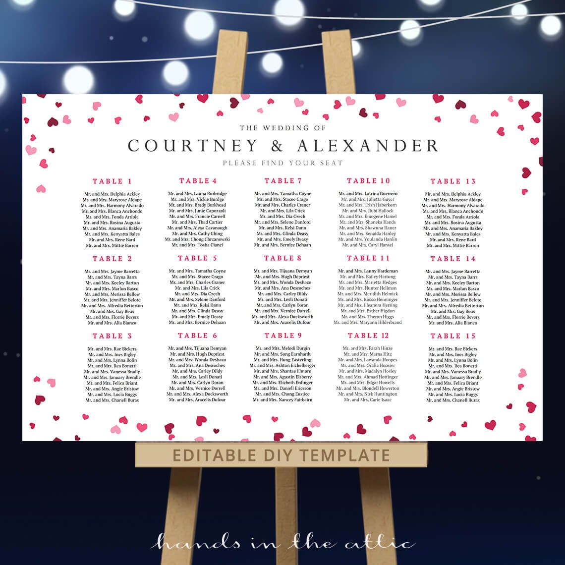 DIY Wedding Seating Chart Template Reception Table Plan