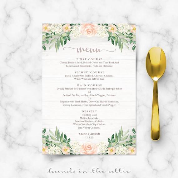 Floral Wedding Menu Template Rustic Reception Wedding